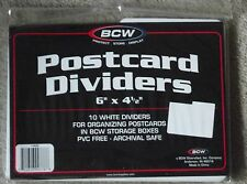 """20 BCW White Postcard Box Dividers 6"""" x 4 1/2""""- 2 Packs of 10 Indexing Storage"""