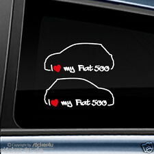 (783) 2x Fun Sticker Aufkleber /  I Love my Fiat 500 Abarth