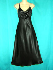 *GLAMOUROUS LONG BLACK SLINKY SATIN MORGAN TAYLOR VELVET BUST NIGHTGOWN**S/M***