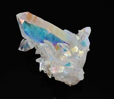 OPAL ANGEL AURA QUARTZ Crystal Cluster Rainbow Colors w/Healing Property Card