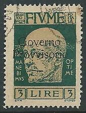 1921 FIUME USATO GOVERNO PROVVISORIO 3 LIRE - F5