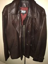 DKNY MEN'S VINTAGE BROWN LEATHER MOTORCYCLE JACKET MINT CONDITION SIZE M