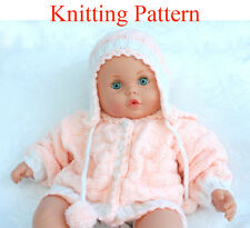Knitting pattern for doll 19-22 inches or 0-3 month baby Cardigan and Hat