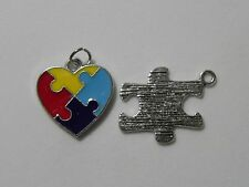 2 Silver Heart & Puzzle Piece Ribbon Autism Awareness Charm Pendant Findings