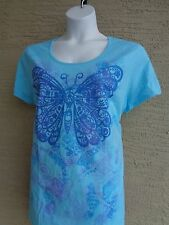 New Just My Size Cotton Blend  Scoop Neck Tee Shirt Blue Glitzy Graphic 2X
