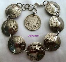 1936 80th BIRTHDAY GIFT BUFFALO HEAD NICKEL CHARM BRACELET ANTIQUE COIN JEWLERY