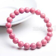 Handmade 8mm Natural Pink Rhodochrosite Round Gemstone Beads Bracelet 7.5''