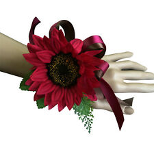 wrist corsage-Sunflower perfect for homecoming prom and events (burgundy)