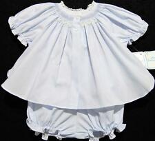 HAND~EMBROIDERED NEWBORN SMOCKED BLUE DIAPER SET W/FRENCH LACE~NWT~reborn doll