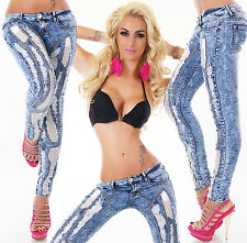 Sexy Ladies Low Cut Hipster Skinny Jeans Destroyed Look Blue Jeans Size 6-14