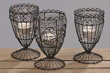 3 x Windlichter Evelyn aus Draht und Glas, Teelichthalter, Kerzenständer