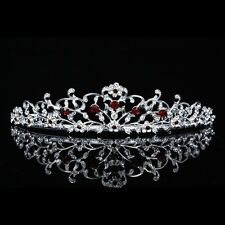 Gorgeous Floral Red Rhinestone Crystal Prom Bridal Wedding Tiara 7713