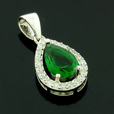Sterling Silver Pear Emerald Zirconia Pendant +Chain Gift Boxed