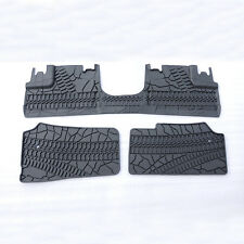 MARK 3Pcs Rubber Slush Slate Carpet Floor Mats For 2007-2016 Jeep Wrangler 4 Doo