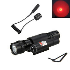 Hunting Red Laser Dot Sight Scope Gun Rifle Pistol +Flashlight Torch 4000lm LED