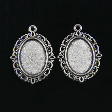 15pcs Tibetan Silver Photo Frame Cameo Setting Pendants 30x20mm ABFD