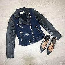 Michael Kors Denim Blue Black Faux Leather Biker Zip Short Jacket S 8 10
