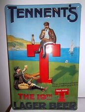 TENNENT'S LAGER BEER/ GOLF 19TH TEE: EMBOSSED 3D METAL ADVERTISING SIGN 30X20cm