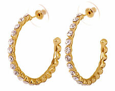 Swarovski Elements Crystal Recreation Hoop Pierced Earrings Gold Plated 7204y