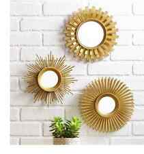 Wall Mirror Set 3 Piece Gold  Living Room Decor Round Modern Style Decoration