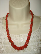 Antique Victorian Natural Mediterranean Coral Necklace Sterling Silver Closure