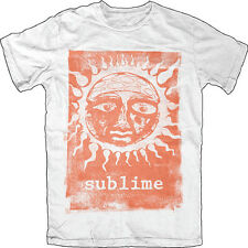Sublime-Distressed Orange Glow Sun-Large White Lightweight  T-shirt