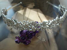 Silver Leaf Flower crystal Tiara Headband 1920s downton abbey bridal flapper