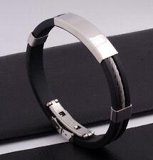 """Unisex Men Women's Stainless Steel Rubber Silicone Bracelet Black 8"""" G17"""