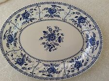 Johnson Brothers INDIES BLUE Blue & White Swirl Oval Serving Platter 13 3/4""
