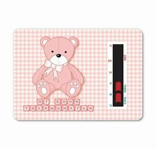 Child & Baby Nursery Room Thermometer Card - Pink Baby Bear
