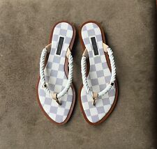 Louis Vuitton Paris Nautical Rope Damier Azur Flat Rope Sandals Size 6.5