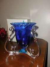 RETIRED New Partylite Blue Soliloquy Candle Holder and Blue Glass Holder P7159B