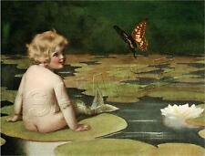 MERBABY VINTAGE VICTORIAN MERMAID BABY WATERLILY PAD BUTTERFLY CANVAS ART PRINT