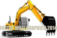 Excavator Track Hoe Construction Equipmnt 4ft Long Wall Decals Graphic Man Cave