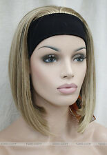 Light Brown Blonde Mixed Cute with headband Women 3/4 half Wig FTLD106