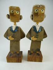 Vintage Wood Carved Folk Art Israel Frank Meisler Figurine Statue Set Woman x2
