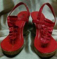 Red Charlotte Russe women's wooden wedge heels size 8