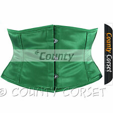 Shaper Cincher Mini Waspie Full Steel Boned Waistbust Sexy Green Satin Corset