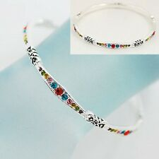 MULTI-COLOR CRYSTAL GORGEOUS RAINBOW GIFT BANGLE NWT BRACELET #368-A