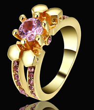Lady/Women's Skull 14KT Yellow Gold Pink Sapphire Wedding Ring Gift size 6 CZ