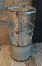 Rustic Metal Candle Holder Glass Lantern Lamp Light Galvanized Vintage Country