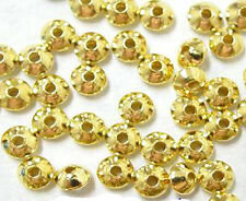 100 Metal Plated Rondelle Spacer Beads 5MM Gold Silver Gunmetal Antique Silver