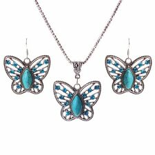 Women Blue Turquoise Crystal Butterfly Pendant Tribal Chain Necklace Earring Set