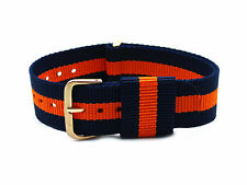 HNS ZULU Navy/Orange Strip Nylon Original G10 Watch Strap Rose Gold Buckle