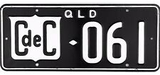RARE 1950's Queensland Australia CONSULAR CORPS License Plate #061 VERY NICE