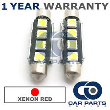 2X RED CANBUS NUMBER PLATE INTERIOR 4 SUPER BRIGHT SMD LED BULBS 44MM 10RX2