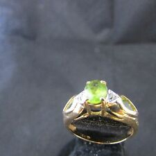 14K 14Kt  ring Yellow Gold peridot with diamond accents Ring style sz 6 euc qvc