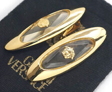 GIANNI VERSACE Medusa Clear Earrings Gold tone RARE #716