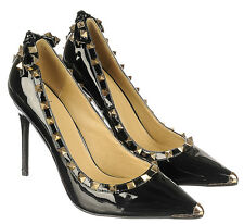Black Leather Gothic Pointy toe Pump Pyramid Studs Bow Heel Women's shoes sz.7.5