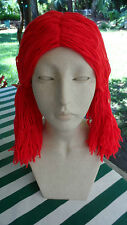 Super Cute, Colorful Bright Red Raggedy Ann Costume Yarn Wig w/2 Side Ponytails